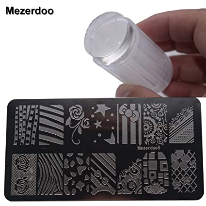 Veena Stamping Nail Art Templates Flowerbowline Image Stencils Plates Diy Jelly Transfer