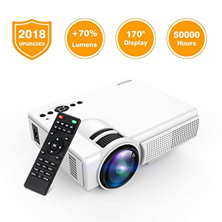 Review Projector, TENKER Q5 LED Mini Movie Projector Support 1080P HDMI USB TF VGA AV, Multimedia Home Theater LCD Video Projector, Black