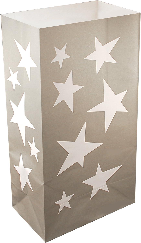 LumaBase 49024 24 Count Silver Stars Luminaria Bags