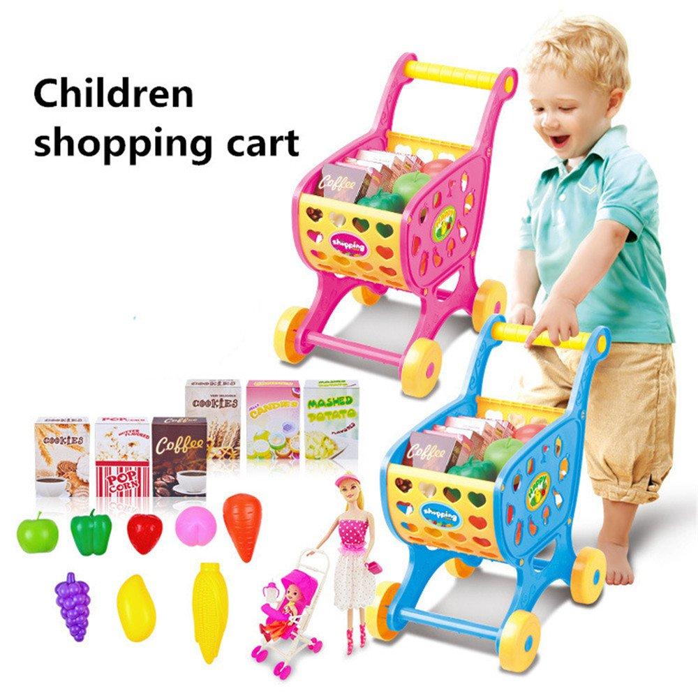 PSFS Children's Supermarket Shopping Carts Fruit Vegetable Pretend Play Children Kid Educational Toy (Pink)