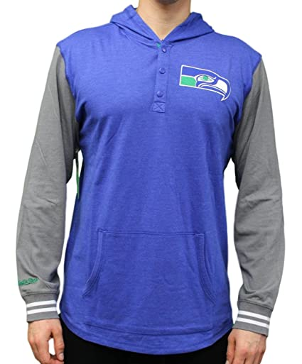038d6e1fb4294b Amazon.com : Mitchell & Ness Seattle Seahawks NFL Mid-Season Long Sleeve  Hooded Men's Shirt : Sports & Outdoors