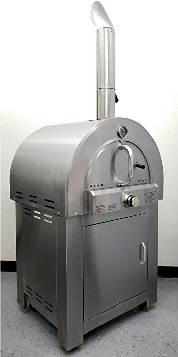 """30.5"""" LPG Propane Gas Stainless Steel Artisan Pizza Oven or Grill, with Cover, Outdoor or Indoor"""