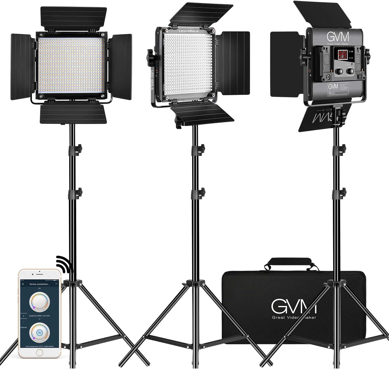CRI 97+ 2PCS Video Lighting Kit with APP Control GVM RGB Led Video Light 40W Photography Lighting Led Panel Light with 8 Kinds of The Scene Lights for Studio YouTube 3200K-5600K