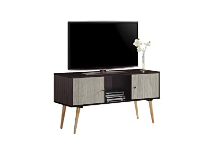 Amazon Com Hodedah Retro Style Tv Stand With Two Storage Doors And