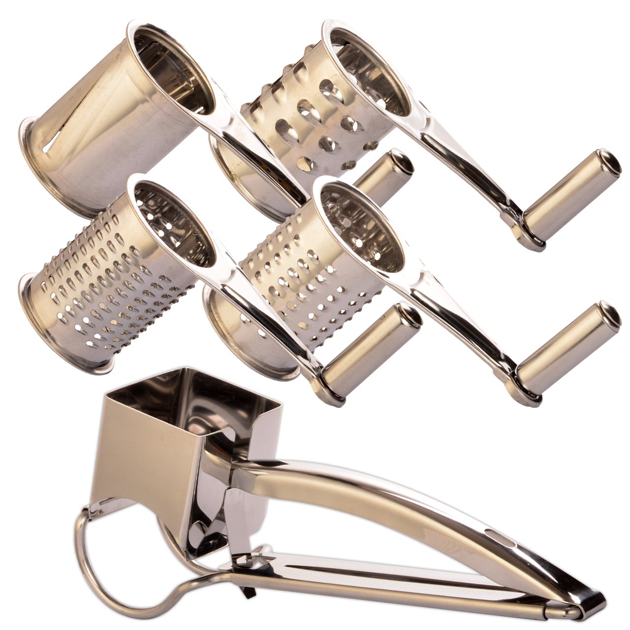 HOMER Rotary Cheese Grater Vegetable Cheese Slicer Cutter Shredder and Grinder with 4 Interchangeable Ultra Sharp Stainless Steel Drums