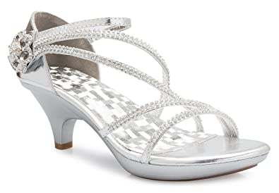 cda26a5710b4 Image Unavailable. Image not available for. Color  OLIVIA K Women s Open  Toe Strappy Rhinestone Dress Sandal Low Heel Wedding Shoes