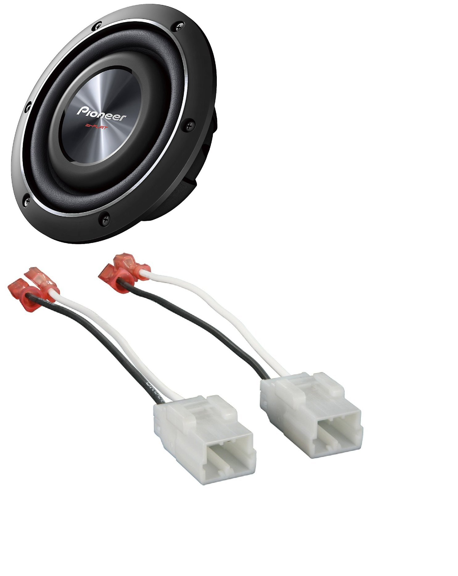 Pioneer TS-SW2002D2 600 Watts 8'' Dual 2 Ohm Shallow Mount Car Truck Subwoofer with Metra 72-6514 Speaker Harness for Select Chrysler/Dodge Vehicles