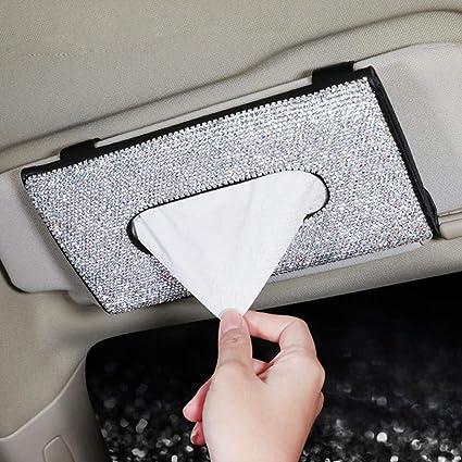 Yuciya Scatola per Fazzoletti per Auto Appeso Parasole Fazzoletto di Carta Fermacarte in Pelle per Auto Accessori Interni Auto 23x12,5cm