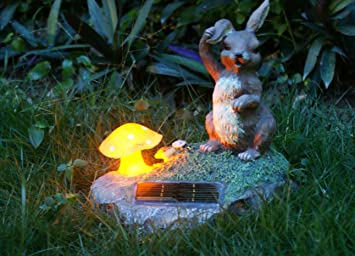 Rabbit Statue With Solar Lights Solar Powered Garden Animal Ornments Light