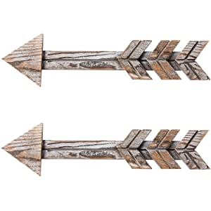 TIMEYARD Rustic Wood Arrow Decor, Set of 2 Rustic Arrow Sign Wall Decor, Decorative Farmhouse Home Wall Hanging Decor