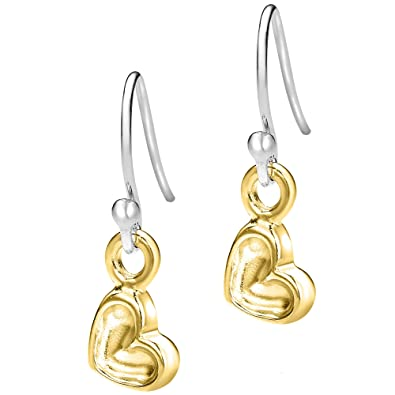 Dower & Hall Nomad Sterling Silver Beaten Heart Drop Earrings of Length 2.5cm