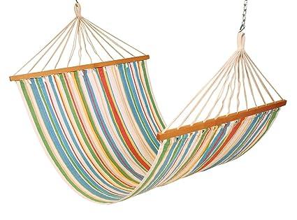 Hangit 13FT cotton fabric Jumbo hammock furniture with Hanging Hardware for garden with wooden spreaderbar (Rainbow)