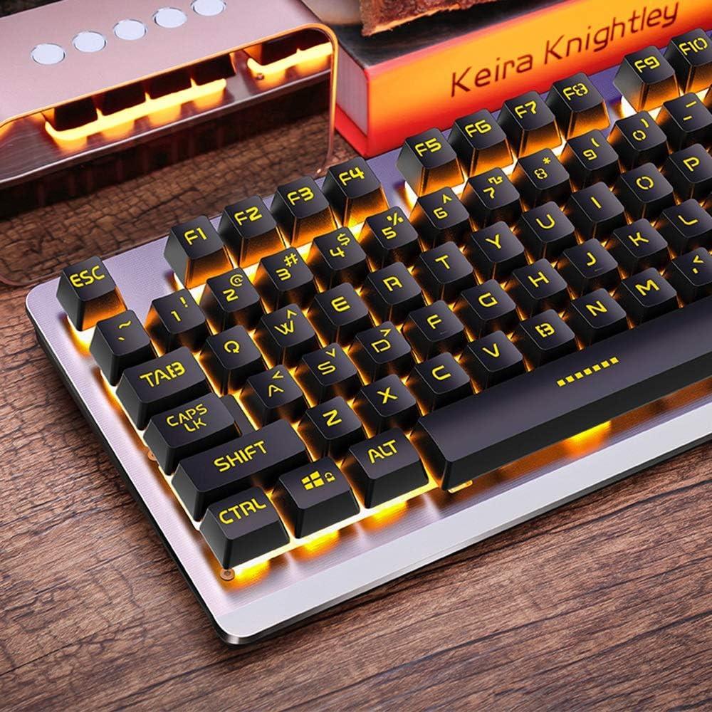 OFNMD Mechanical Feel Gaming Keyboard Wired Orange Breathing Backlight Multimedia Ergonomic USB Game Keyboard for PC Laptop//Computer QWERTY Key