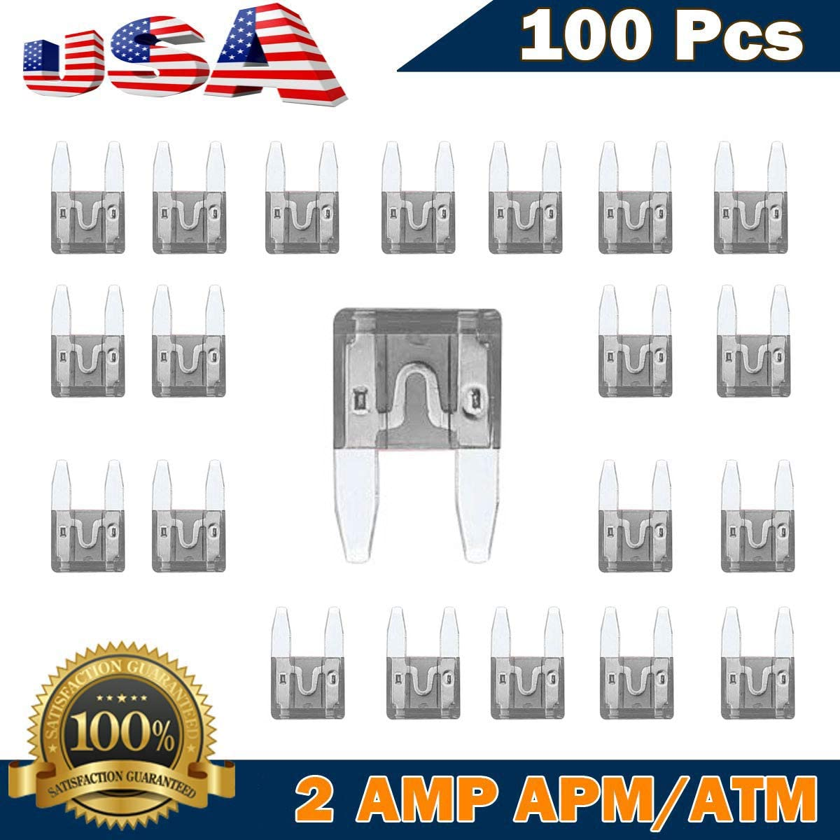 100Pack Kodobo 100 Pack Auto Fuses 30 AMP APM//ATM 32V Mini Blade Style Fuses 30A Short Circuit Protection Car Fuse