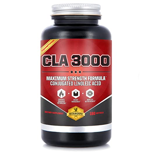 CLA Safflower Oil | CLA 3000 Maximum Potency Conjugated Linoleic Acid for Enhanced Metabolism & Weight Loss | USA-Made, Non-GMO, Stimulant-Free Safflower CLA by Vitamorph Labs | 180 Softgels