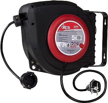 TronicXL - Carrete alargador de cable automático IP20, 15 m ...