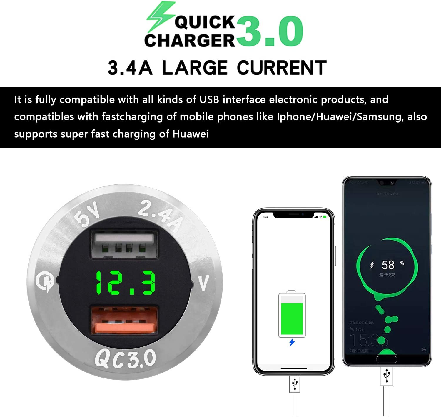 Silver-Green BlueFire Upgraded Aluminum Alloy Quick Charge 3.0 USB Car Charger Socket /& 2.4A USB Port IP66 Waterproof Dual USB Power Outlet with Voltmeter for Car Boat Marine Rv Motorcycle