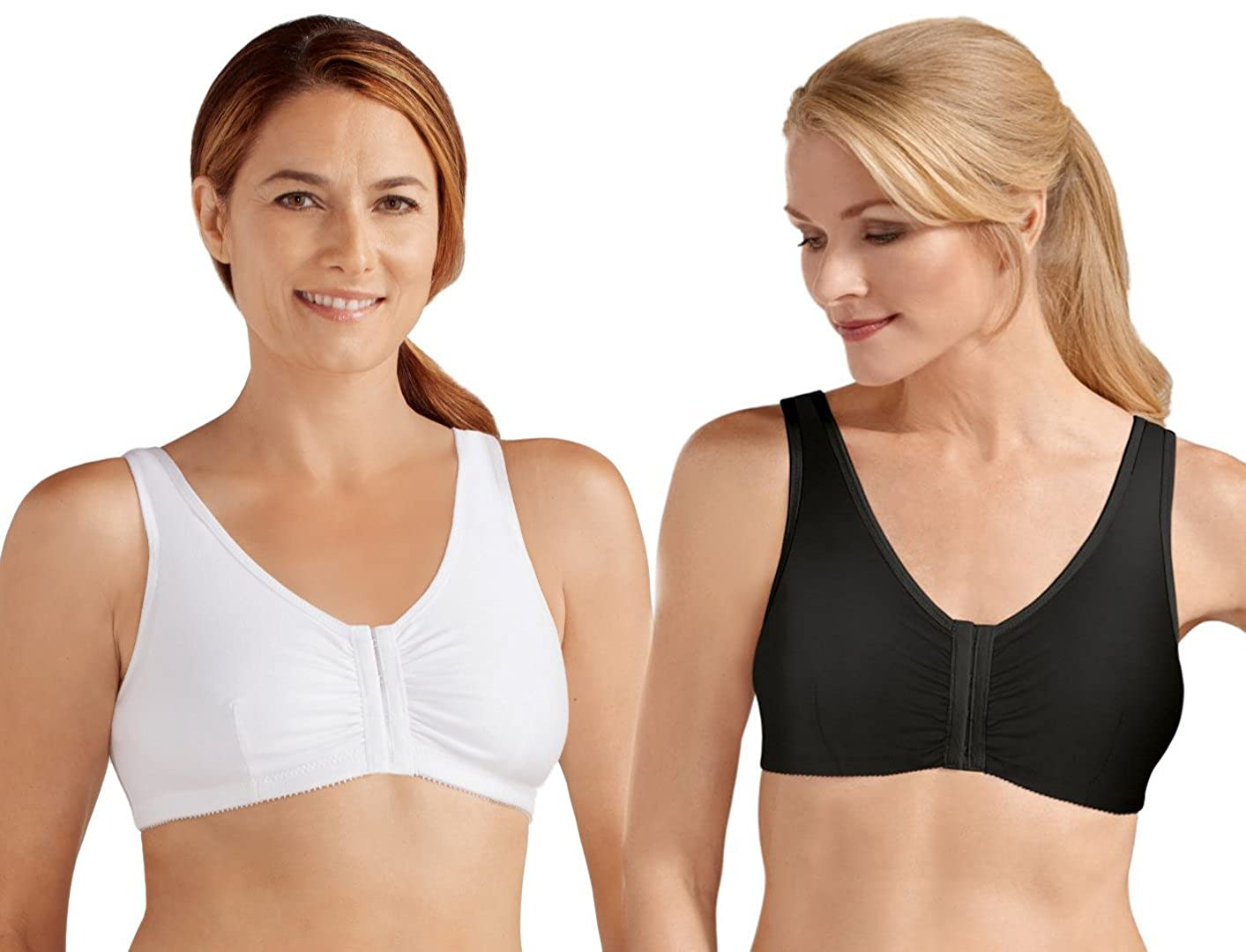 Amoena 'Frances' Front Fastening Post Surgical Bra - TWIN PACK - Black/White 2128-twin