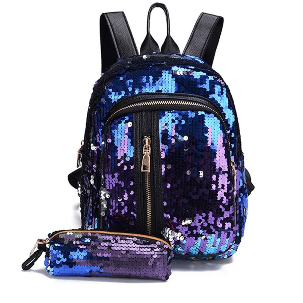 Sumen Gift for Juniors Teen Girls Sequins Backpack Travel Shoulder Satchel Bag and Wallet (Blue) by Sumen Bag (Image #3)