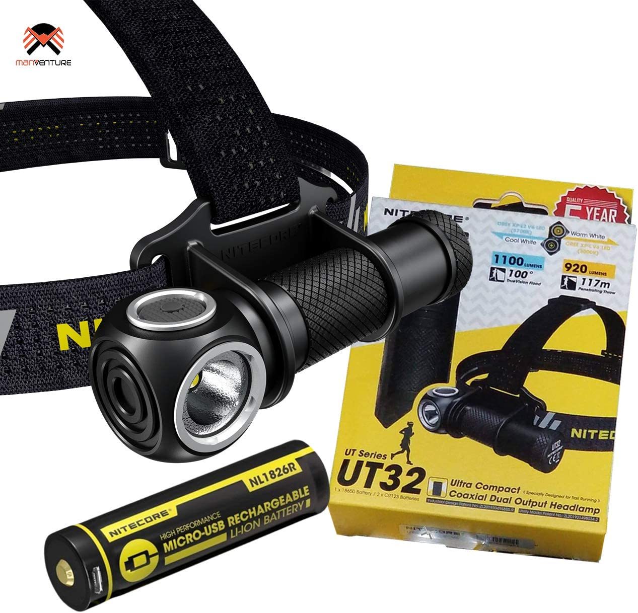 Linterna Cabeza Impermeable IP68 Salida Dual Nitecore UT32 Linterna Frontal LED 1100 /& 950 L/úmenes Luz Blanca Fr/ía y C/álida