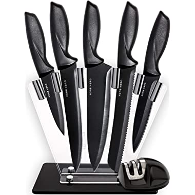 Home Hero Chef Knife Set Knives Kitchen Set - Stainless Steel Kitchen Knives Set Kitchen Knife Set with Stand - Plus Professional Knife Sharpener - 7 Piece Stainless Steel Cutlery Knives Set