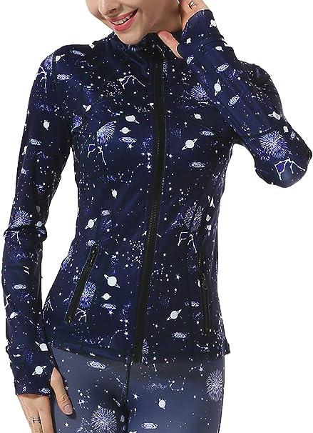 Galeap Women Track Running Jacket Full Zipper Yoga Jacket with Thumb Holes
