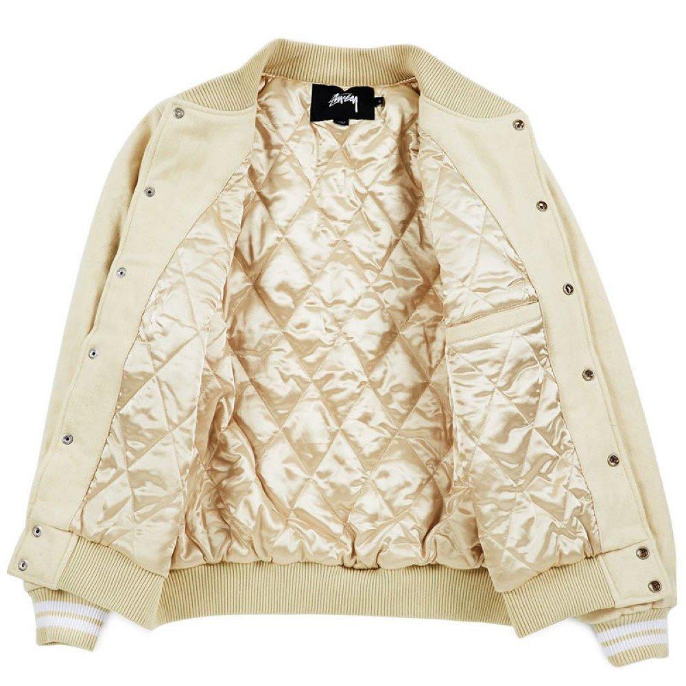 3f30cbb74761 Stussy Stock Varsity Jacket - Off White-XXL  Amazon.co.uk  Clothing