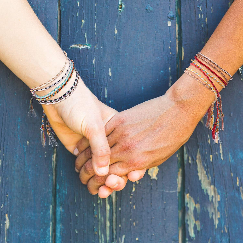 28 Pieces Woven Wrap Friendship Bracelets Handmade Braided Friendship Bracelet Adjustable Colorful Beaded Bracelet: Clothing