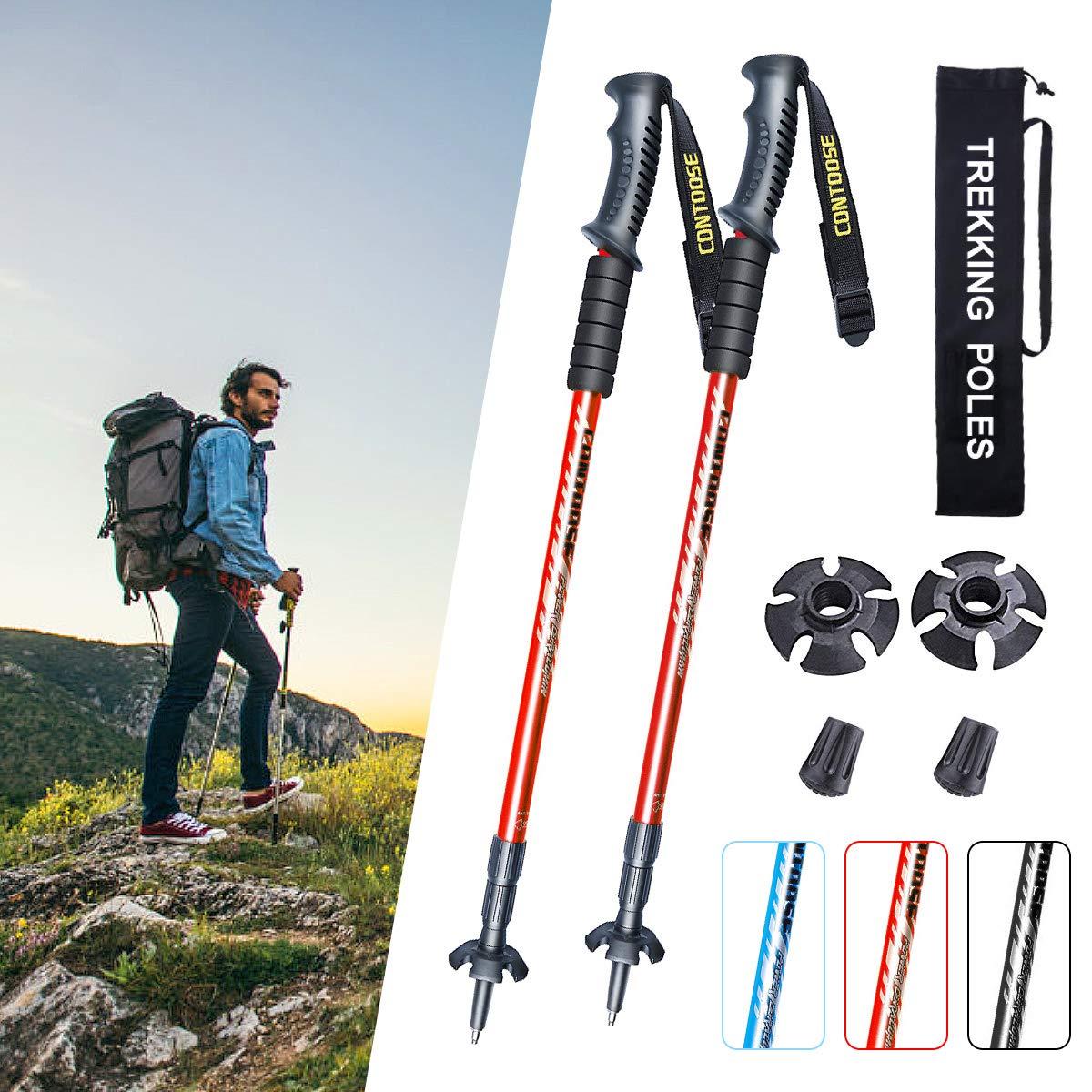 XJDトレッキングポール登山用ストック2本セット3段伸縮65~135cmアルミ製アンチショック機能付・付属品・日本語説明書付き