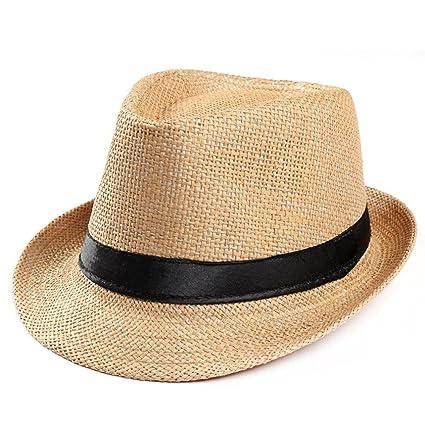 b4035d1b7a78f Amazon.com  Sacow Straw Fedora Hat Cap