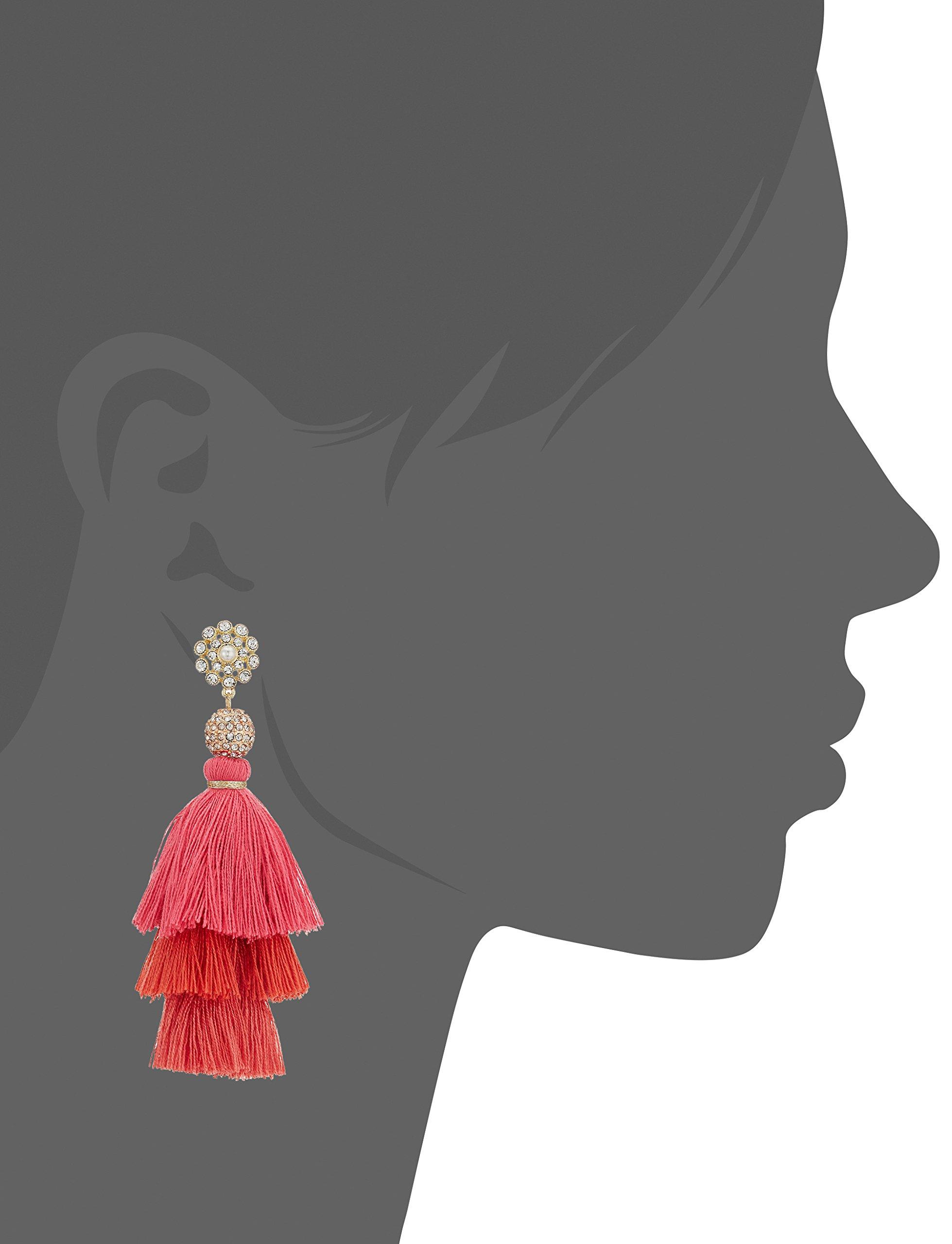 Badgley Mischka Womens Pink Ombre Triple Tassel Drop Earrings, Gold Tone, One Size by Badgley Mischka (Image #2)