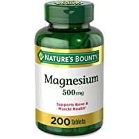 Magnesium by Nature's Bounty, 500mg Magnesium Tablets for Bone & Muscle Health, 200 Tablets