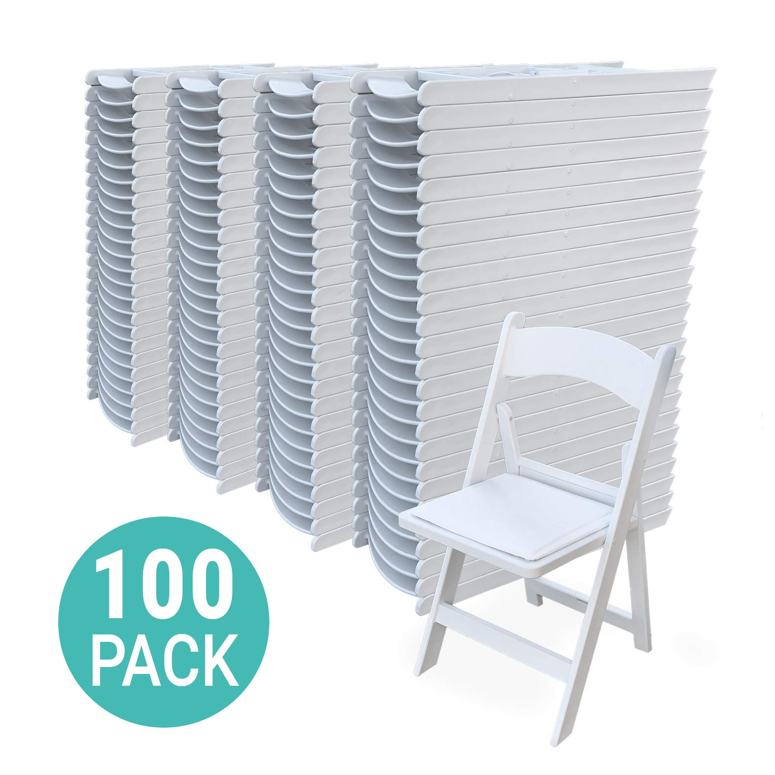 EventStable TitanPRO Resin Folding Chair - White, 100-Pack by EventStable