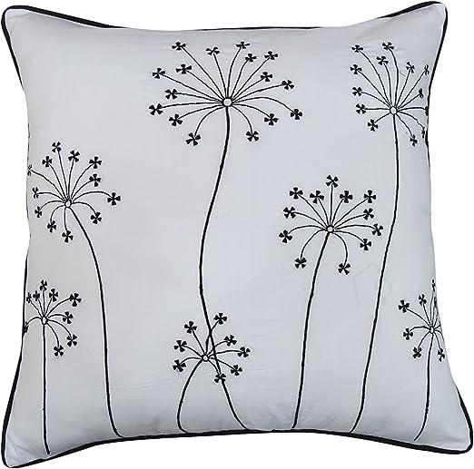 S4Sassy Indio Decorativo Blanco de algodón Almohada Cubierta Floral Bordado Sofá-Funda de Almohada 14 x 14 Pulgadas: Amazon.es: Hogar
