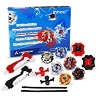 Innoo Tech 6 Pieces Bey Battle Blade Burst Gyro Top Set, 4D Fusion Model Metal Masters Acceleration Launcher, Speed…