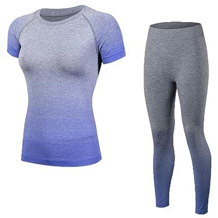 8d00f5e2c8cb99 Shimmery Women's 2-Piece Stretch Activewear Short Sleeve T-Shirt Top +  Pants Workout