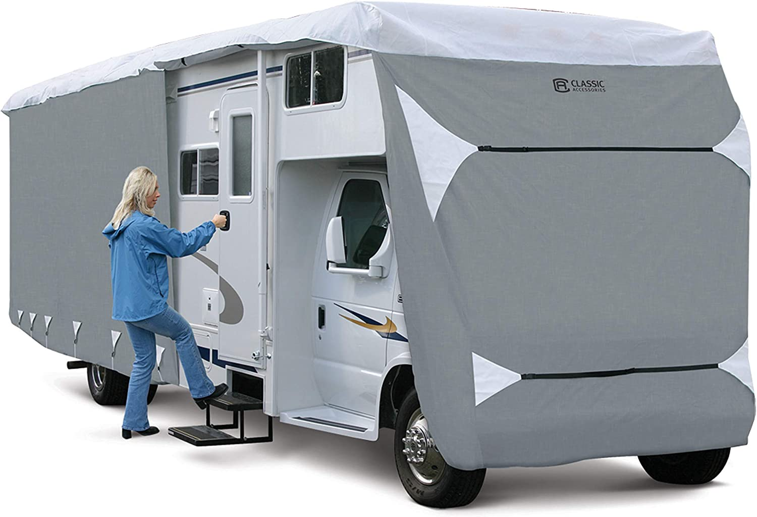 Renewed Classic Accessories OverDrive PolyPro 3 Deluxe Class C RV Cover Fits 32-35 RVs