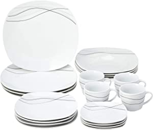 Lorren Home Trends 20 Piece Square Dinnerware Set Service for 4, Confetti