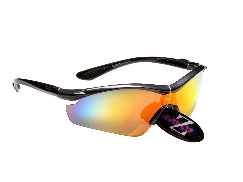 Rayzor Professionelle Leichte UV400 Gun Metall Grau Sports Wrap Schifahren Sonnenbrille, mit einem roten Iridium Mirrored Blend Lens.