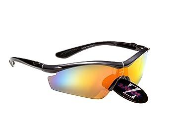 Rayzor Professionelle Leichte UV400 Weiß Sports Wrap Schifahren Sonnenbrille, mit einem blauen Iridium Mirrored Blend Lens.