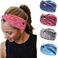 HOME-MART 4 Pieces Workout Headbands with Buttons Yoga Sports Hairbands Elastic Buttons Headbands Wide Non-Slip Headband…
