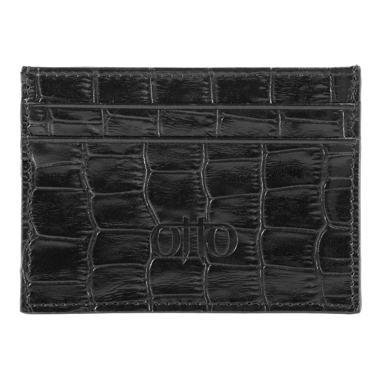 Otto Genuine Leather Wallet - Bank Cards, Money, Driver's License, RFID - Unisex (Pattern Black) Driver's License OTTO Leather OTTO16
