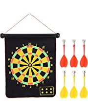 Roll-up Magnetic Dart Board Set, Double Sided Hanging Magnetic Dartboard Game(15inch) with 6 Safety Darts