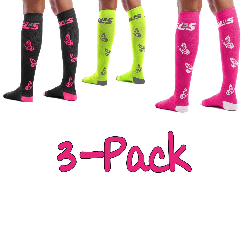 Women's Compression Socks Graduated (20-30mmHg)   For Running, Travel, Nurses, Maternity Pregnancy, Shin Splints, Calf and Leg Pain   Below Knee High Socks   German Designed SLS3