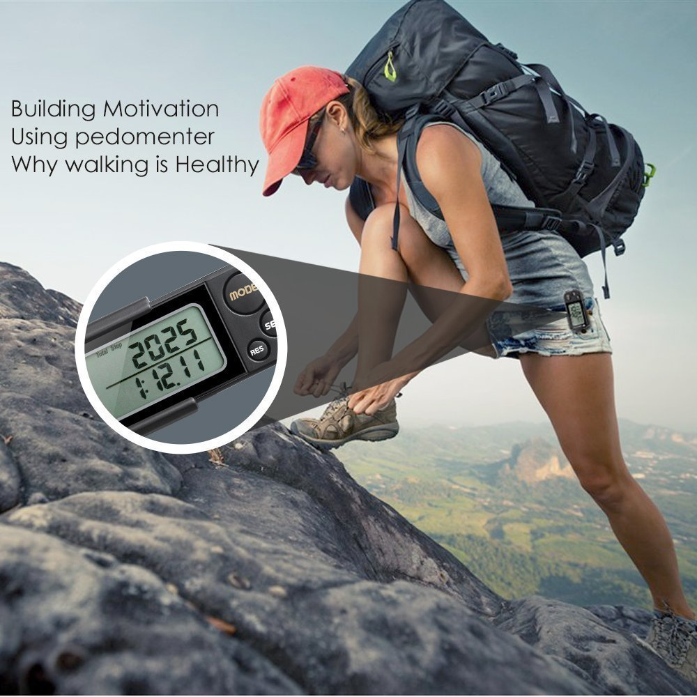 IceFox Walking 3D Pedometer with Clip and Strap,30 Days Memory,Best Accurate Step Counter,Walking Distance Miles and Km,Calorie Counter,Daily Target Performance Monitor,Exercise Time(Black) by IceFox (Image #6)