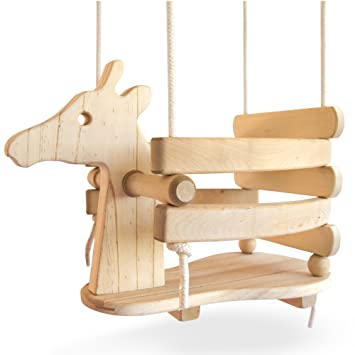 Ecotribe Wooden Giraffe Swing Set For Toddlers Smooth Birch Wood With Natural Cotton Ropes Outdoor Indoor Swing Eco Conscious Toddler Bucket