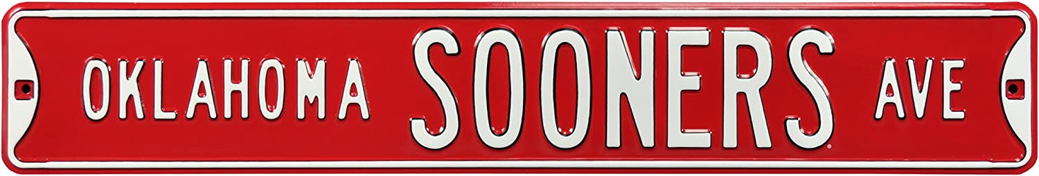 Authentic Street Signs 70041 Oklahoma Sooners Ave, Heavy Duty, Metal Street Sign Wall Decor, 36