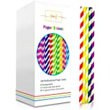 Paper Straws by Sidela Mills-150 Multicoloured Pack Biodegradable Recyclable Drinking Straws | Great For Cocktails, Cold Drinks & Juices | Suitable for Parties, Weddings & All Occasions.