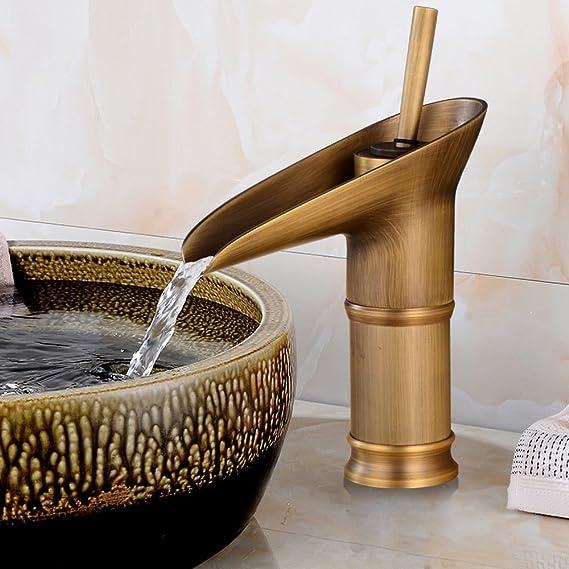 YU XIN Bronce Antiguo de la Vendimia Montado Cubierta de Bamb/ú de Cobre Completa Cocina Ba/ño Grifo Lavabo Grifo Hotel Con Accesorios Cobre