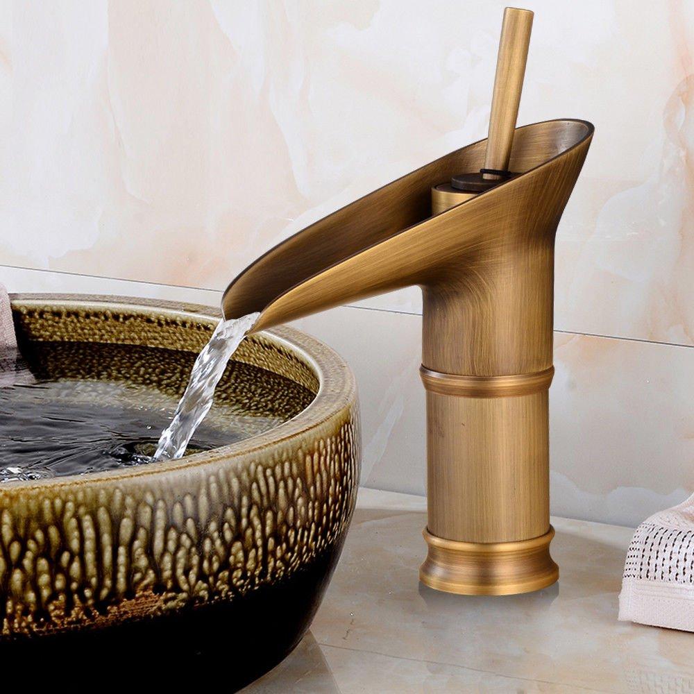 OUKANING Antiguo Cobre Bronce de la Vendimia Montado Cubierta de Bambú de Cobre Completa Cocina Baño Grifo Lavabo Grifo Hotel Con Accesorios